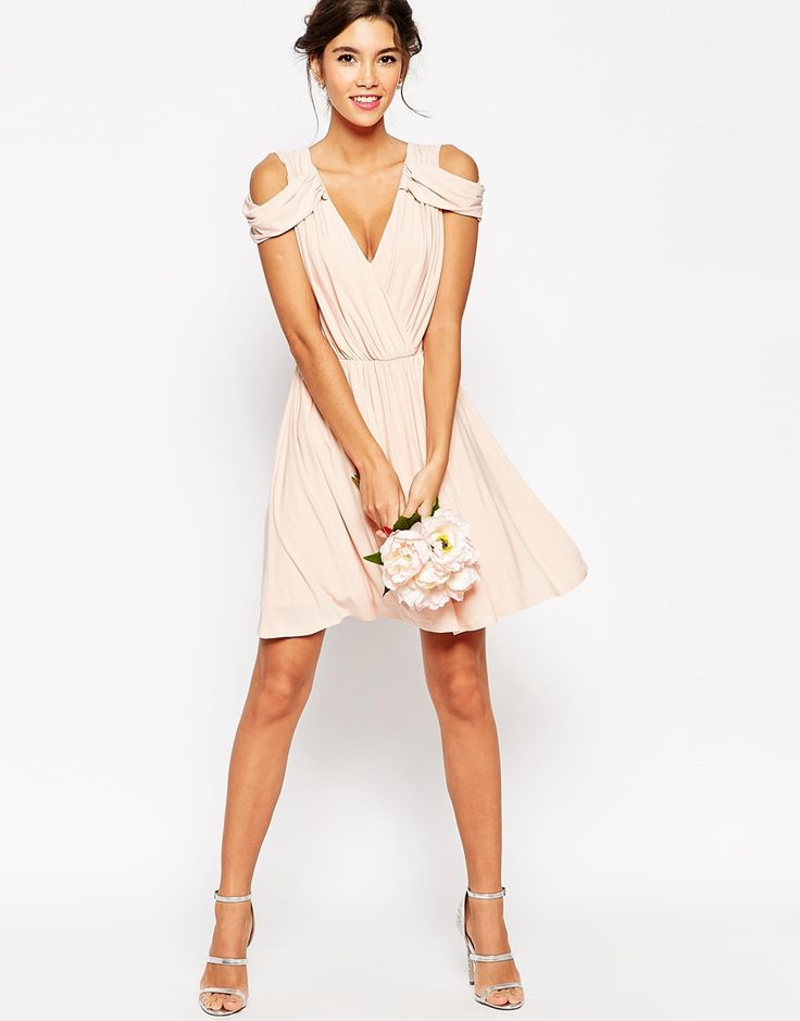 Wedding Drape Cold Shoulder Mini Dress Cold Shoulder And