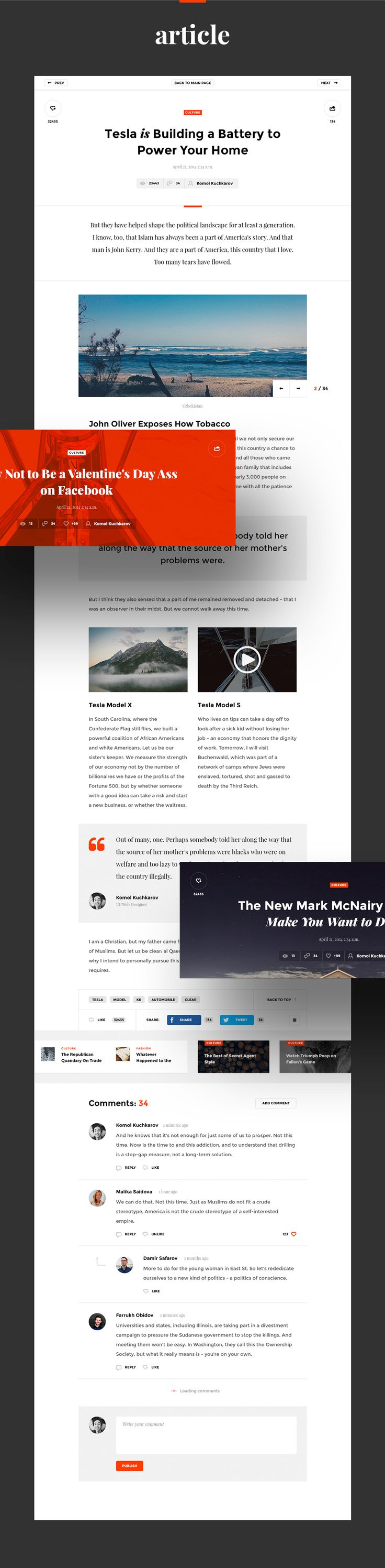 Snug. UI Kit design for modern Blog or News Magazine website conceptual work.