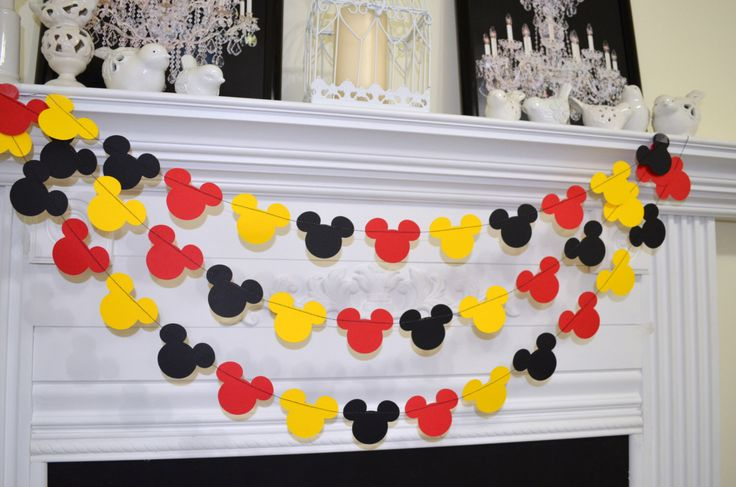 Mickey mouse inspired garland, Birthday decor, red black yellow baby shower decor, birthday garland, Mickey garland, Mickey decoration by DCBannerDesigns on Etsy https://www.etsy.com/listing/210235415/mickey-mouse-inspired-garland-birthday