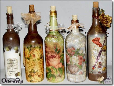 Декупаж бутылки: Bottle Crafts, Learn Crafts, Glass, Altered Bottles, Decorated Bottles, Bottle Art, Decoupage