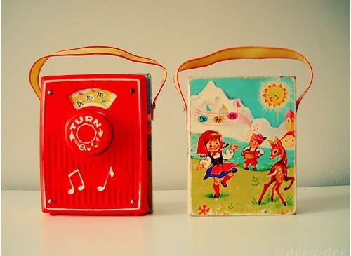 """Little toy radios. I had an aqua coloured one that played """"Twinkle, Twinkle, Little Star."""""""