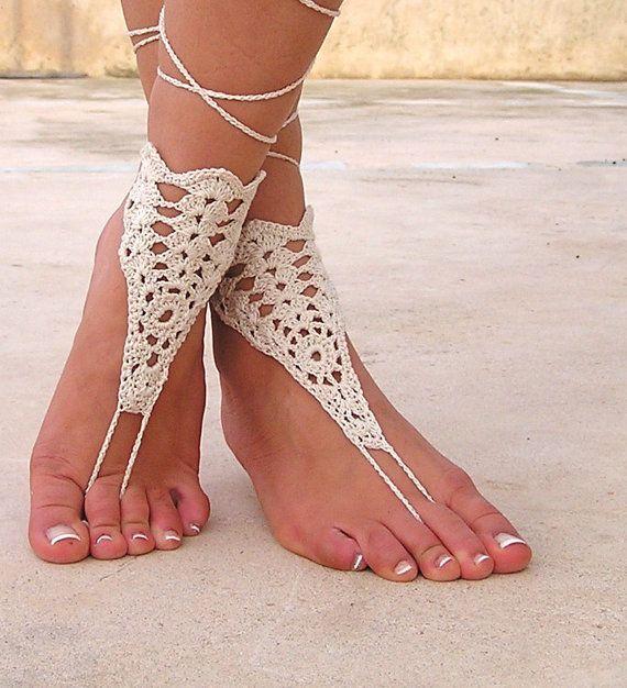Ivory crochet sandals wedding sandals. barefoot sandals, barefoot sandles, crochet barefoot sandals, , barefoot s $15.00 | See more about Nude Shoes, Barefoot and Sandals Wedding.