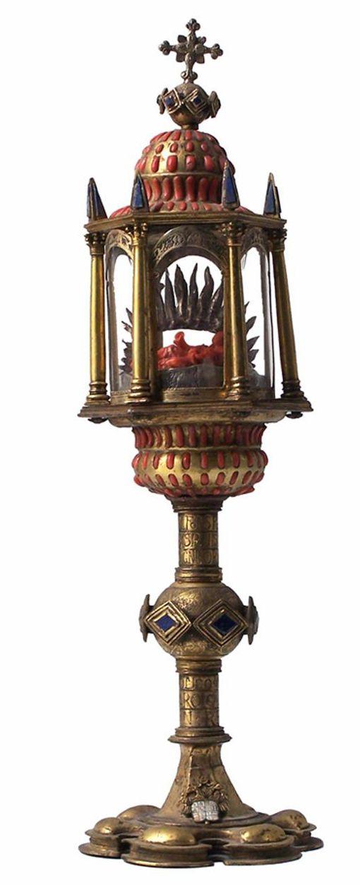 Maestranze trapanesi, Reliquiario con iscrizione di Carlo V, rame dorato, corallo, lapislazzuli, argento, smalto