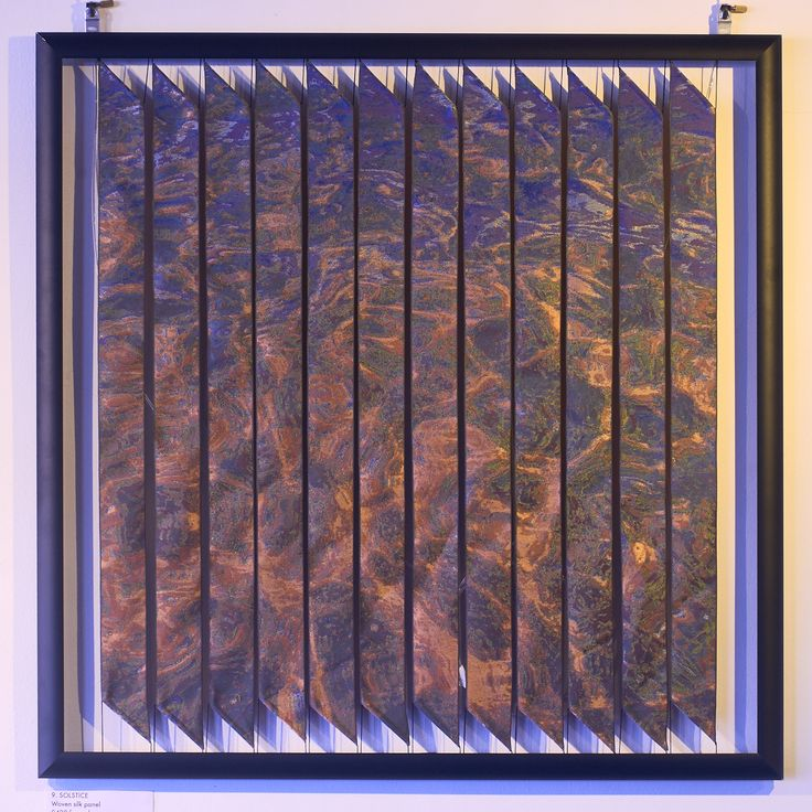 'Solstice'. Woven silk ribbon panel by Robert Ely. 605 x 605mm including frames. Edition of 16. Solstice Sea at Slapton Sands.