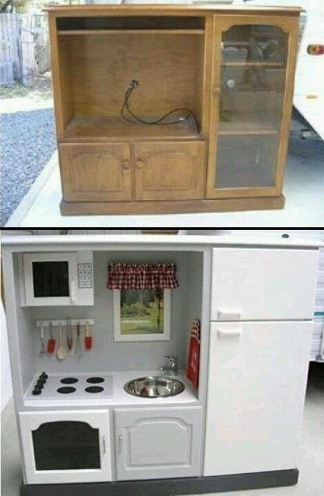 TV center into a child's kitchen playset
