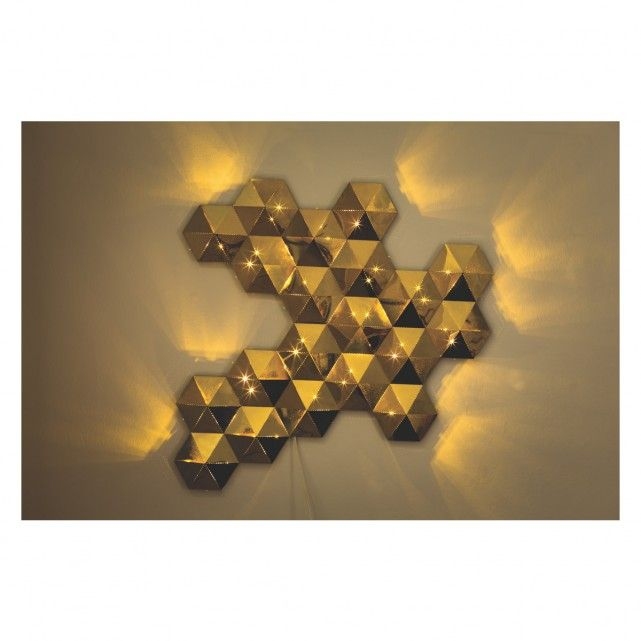 Habitat Lighting Wall Lights : L275 TESSELLATE Gold metal LED decorative wall light Buy now at Habitat UK DIAMOND JEWELLERY ...