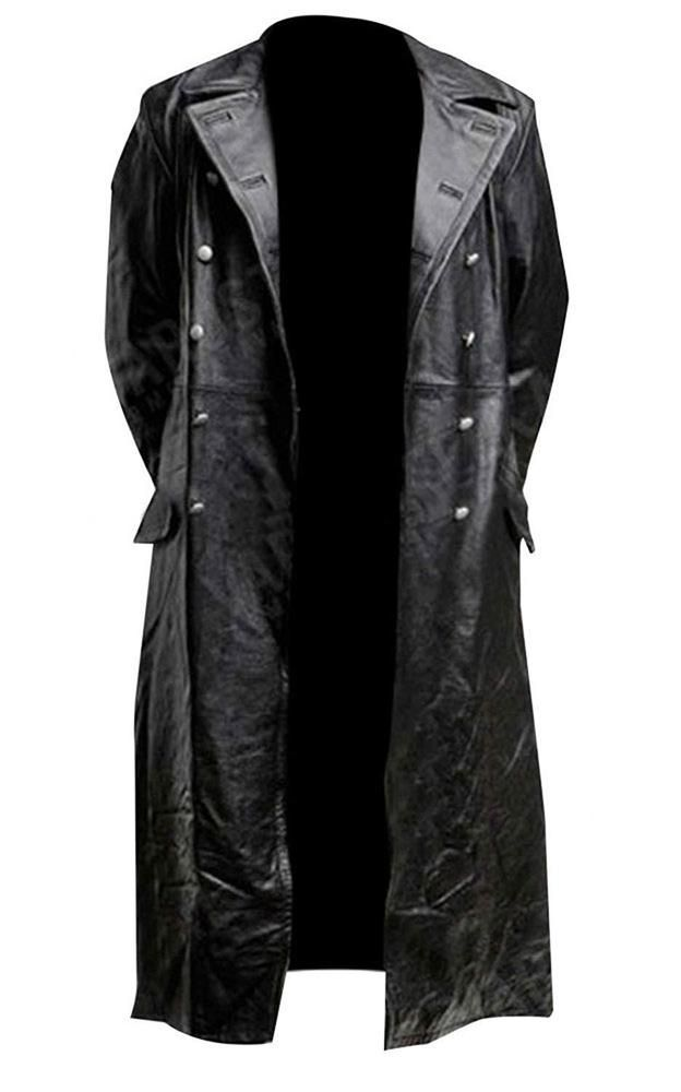 502abbfccc5 MEN S CLASSIC OFFICER MILITARY BLACK REAL LEATHER LONG GERMAN TRENCH COAT   fashion  clothing  shoes  accessories  mensclothing  coatsjackets (ebay  link)