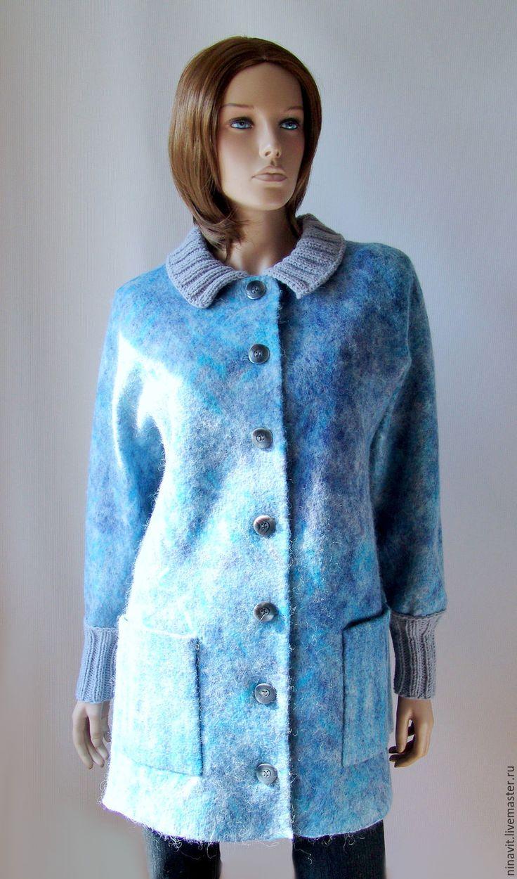 """Купить Валяное полупальто """"Ледяной дождь"""" - валяное полупальто, пальто, пальто валяное, пальто из шерсти"""