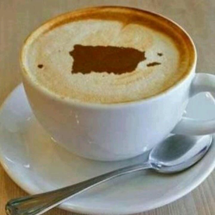 Café con el mapa de Puerto Rico. Coffee with Puerto Rico's map! Mmmm