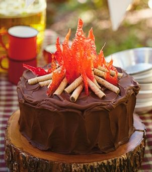 Chocolate Campfire Cake ~ topped with crackly hard-candy flames and rolled-wafer cookie logs