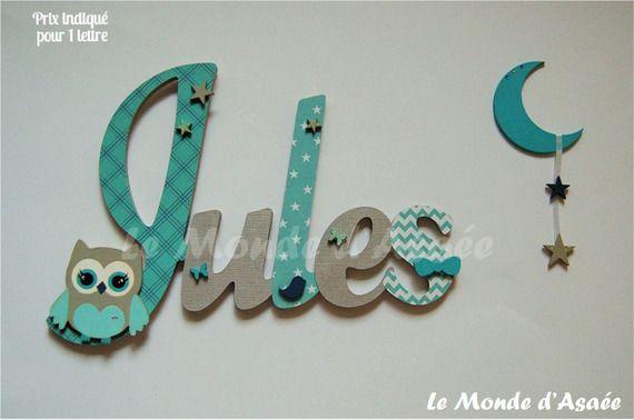 Plaque de porte enfant - Prénom en bois personnalisé - Hibou, lune, etoiles, papillon, noeud - Jules