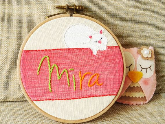 Embroidered Name Custom Name Embroidery Hoop Art by happyfacecraft