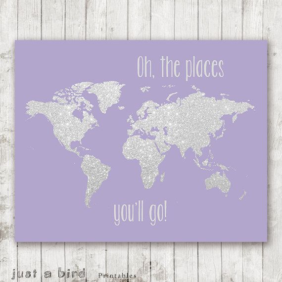 Oh the places you'll go - 8x10 silver glitter nursery printable world map, girls…