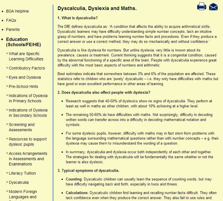 This set of resources developed by 'British Dyslexia Association', can offer support to teachers working with children with dyslexia. This resource provides information on dyscalculia, dyslexia and maths. Useful information for SENCos and other staff