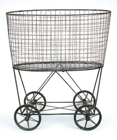 Love this Vintage Metal Laundry Basket on #zulily! #zulilyfinds