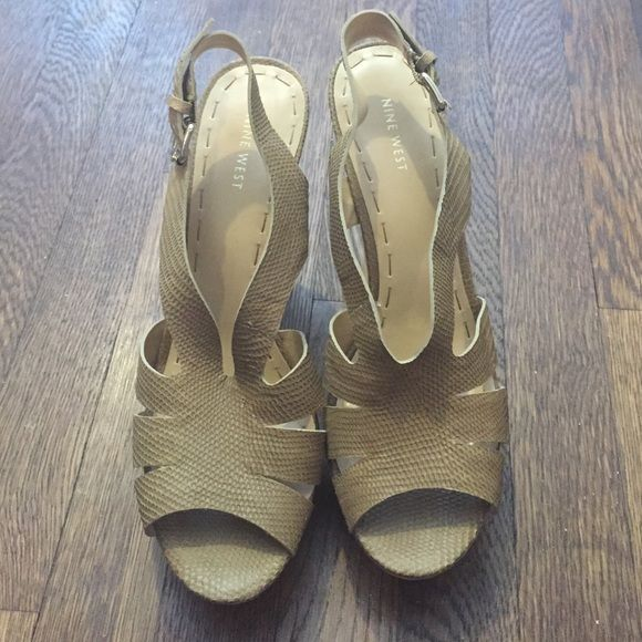 ✨BRAND NEW✨Neutral heeled sandals ✨BRAND NEW✨ Textured neutral heeled sandals. Has a platform for comfort and style. Comes with original box. Nine West Shoes Sandals