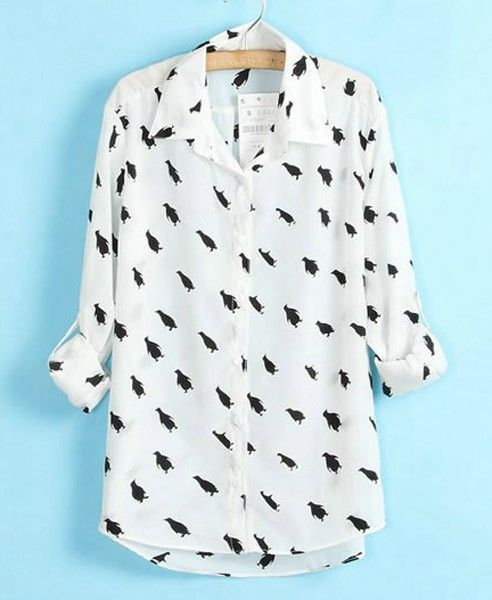 Penguin Print Shirt with High Low Hem $35.40