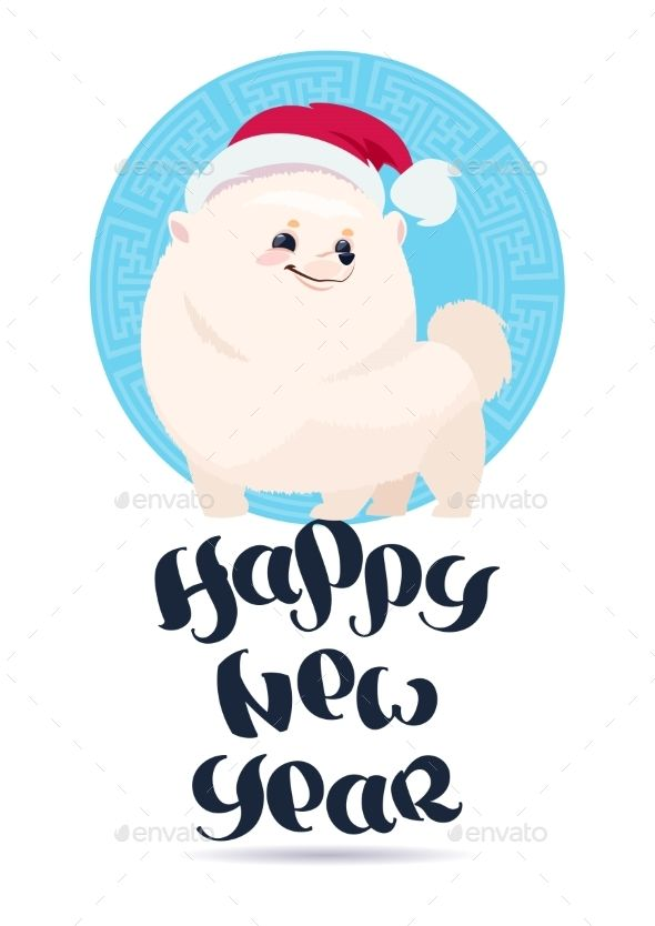 White Pomerian Dog In Santa Hat On Happy New Year Greeting Card Holiday Lettering Design Flat Vector Illustration