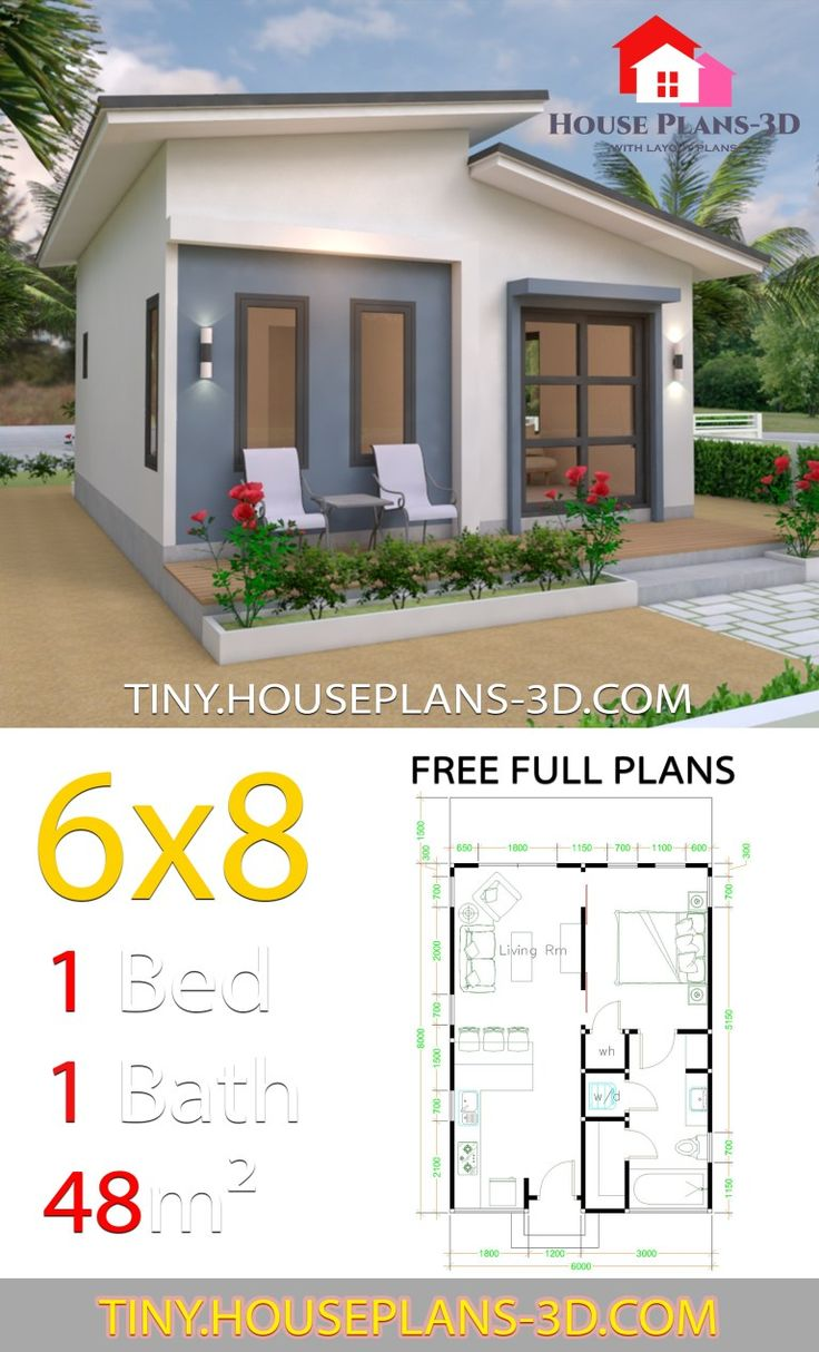 Studio House Plans 6x8 Shed Roof Tiny House Plans Small House Plans Tiny House Plans House Plans