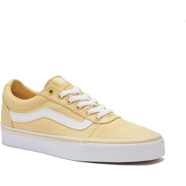 Vans Ward Women's Skate Shoes ($55) ❤ liked on Polyvore featuring shoes, sneakers, lt yellow, lace up sneakers, yellow shoes, vans sneakers, skate sneakers and laced sneakers