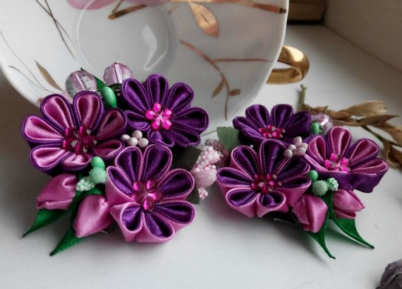 Insieme dei due fiore capelli clip/Kanzashi di AirinFlowers