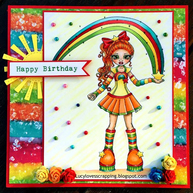 Lucy loves scrapping: Cute as a Button rainbow girl digital stamp, hand colored with Copic markers, handmade cute girly card