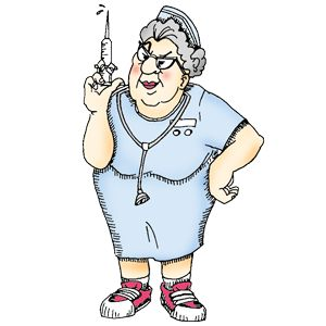 No funny business nurse ready with her hypodermic.