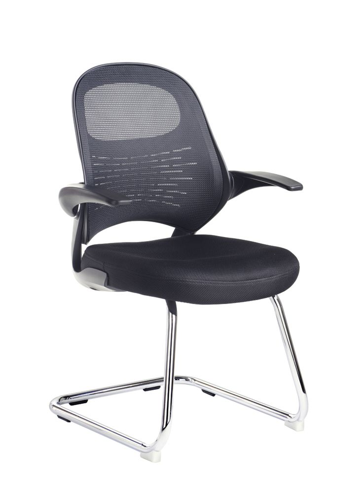 Orion Mesh Back Visitors Chair In Black With Arms   London Office Interiors