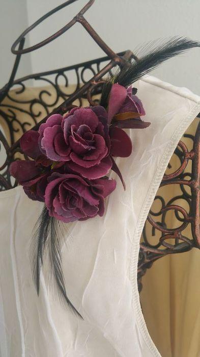 卒業式・入学式・謝恩会フォーマルにはマストのコサージュ!。*misuzu*コサージュ159【紫薔薇x黒ファー】シックでスタイリッシュ♪上質なスタイル パーティ・卒入学に!がっつり大きいのが苦手な方に♪
