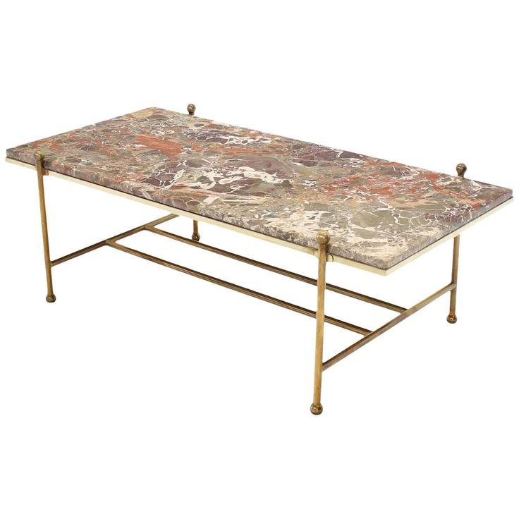 Brass & Marble Mid-Century Modern Coffee Table