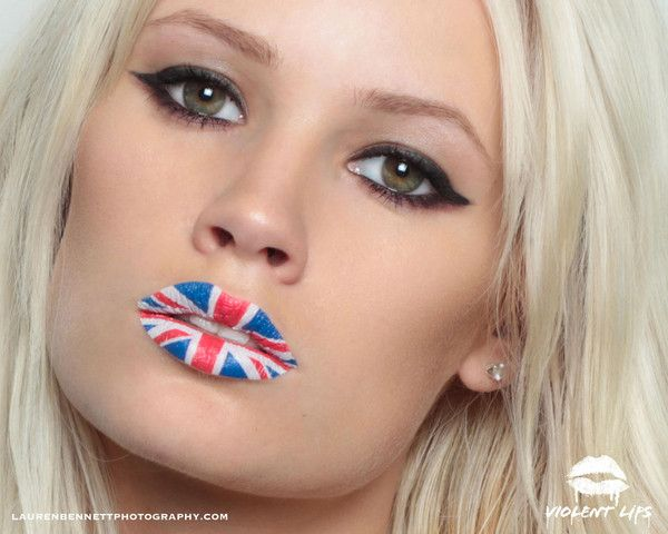 Union Jack flag tattoo lips by Violent Lips