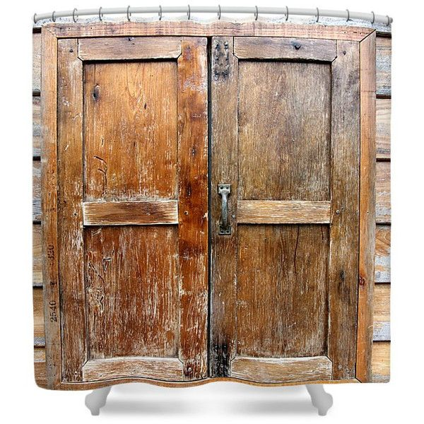 Primitive Shower Curtain Old Barn Door Faux Wood Rustic Decor (71,340 KRW) ❤ liked on Polyvore featuring home, bed & bath, bath, shower curtains, bathroom, grey, home & living, shower curtains & rings, gray shower curtains and grey shower curtains
