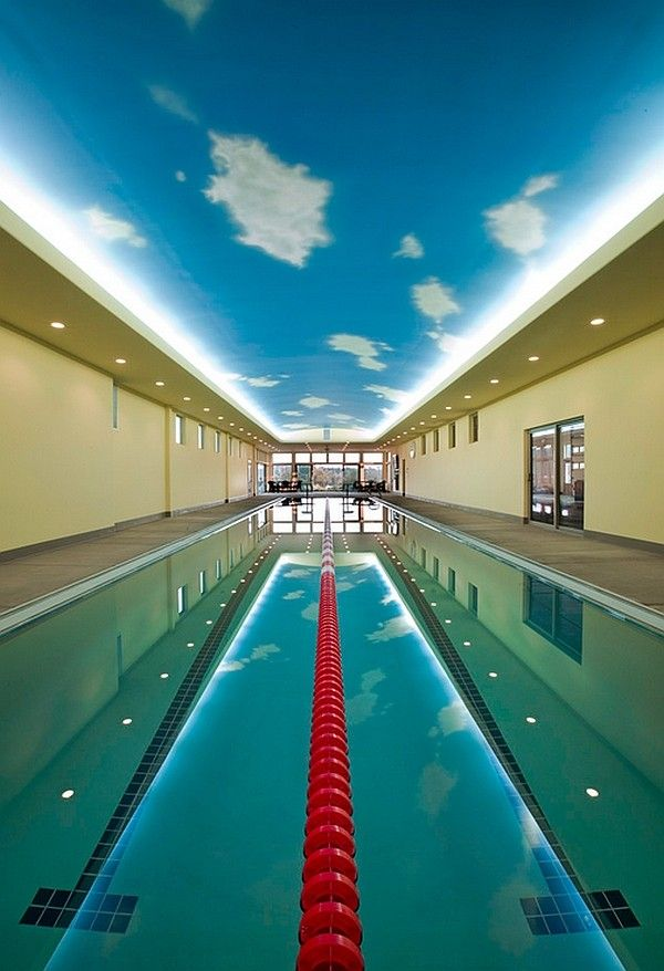brilliant pendant lights illuminate the indoor pool olympic swimming pool background - Olympic Swimming Pool Background
