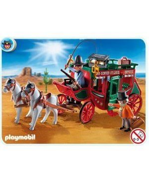 Playmobil 4399 Stagecoach with Driver, Bank Manager and Two Horses by Playmobil. $43.99. Stagecoach with Driver, Bank Manager and Two Horses. Compatible with Playmobil 4398 Western City with Band and Sheriff's Office. Exclusive 2012 Playmobil Collection. Made in Germany. Stagecoach with a bank manager and driver. The roof of the carriage is removable, and in the interior space for up to four figures. Nervously, the bank manager looks out the window of the stagecoach, which carrie...