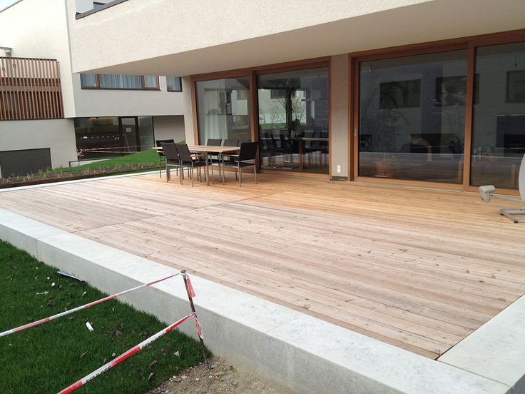 Wooden terrace made of larch wood in Konstanz