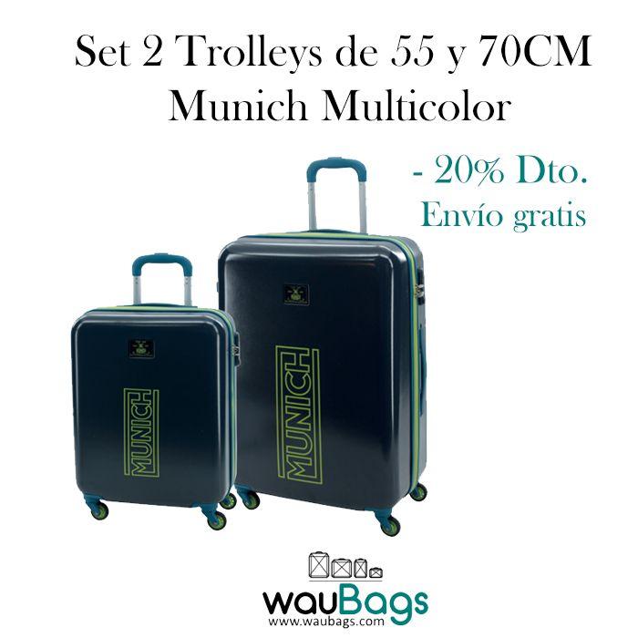 El Set de viaje Munich Multicolor está compuesto por 2 originales y prácticas maletas trolley (una de ellas apta para cabina).  Totalmente forradas en su interior, disponen de dos compartimentos separados por cremallera, varios bolsillos y además, traen una bolsa de tela especial para zapatos!!  Con 4 ruedas que giran en 360º y un candado de cierre con combinación en el lateral.  @waubags#munich #maletas #trolley #viaje #
