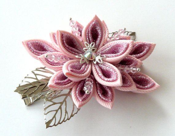 Clip di capelli fiore tessuto kanzashi kanzashi rosa clip di JuLVa