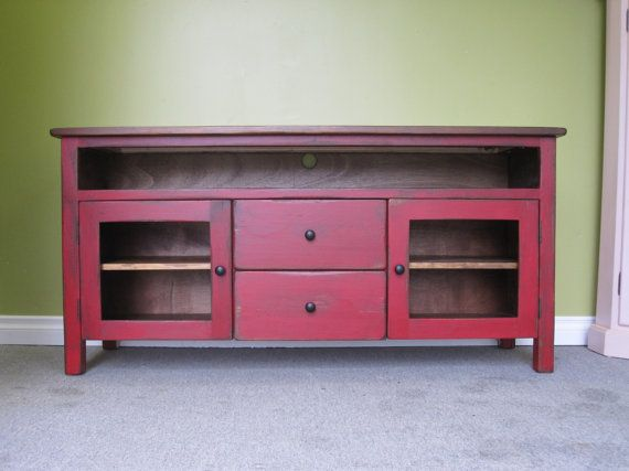 Red TV Stand / Wooden 60″ Long TV Console / Cottage Entertainment Center / Media Sideboard / Media Console