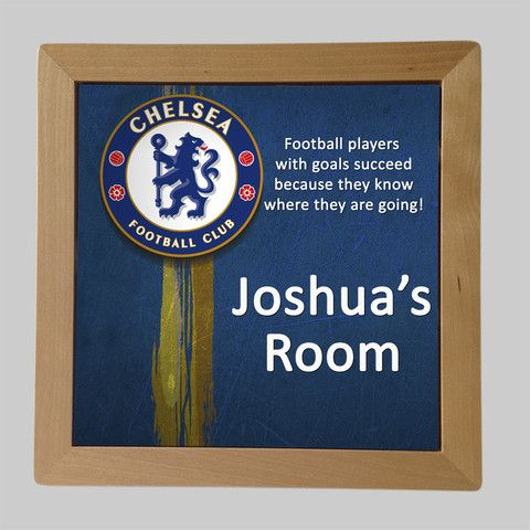 Personalised Framed Tile, Children's Room Sign, Soccer Chelsea