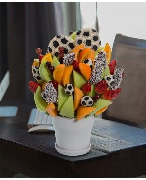 Soccer Mom / Sports Fantatic Blossom / Birthday Boy Blossom scent free fruit bouquet are great for all occasions and make great gifts ideas or decorations from a proud Canadian Company. Great alternative to traditional flowers or fruit baskets