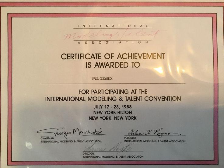 IMTA- International Modelling & Talent Association- Certificate