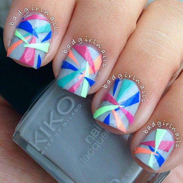 #nailart #nails #manicure #nail #nailsart #geometric #neon