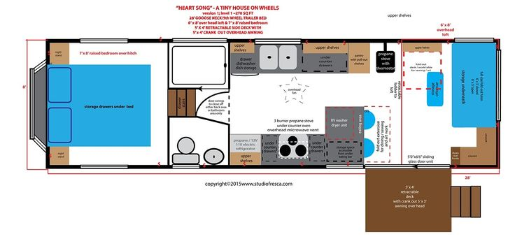 """HEART SONG - A Tiny House on Wheels in progress...the design phase. This version is on a 28' gooseneck (""""5th wheel"""") trailer allowing the front bedroom to be accessed with out using a ladder. There is also a loft in the back."""