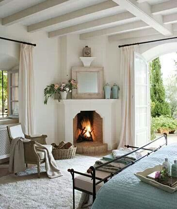 White Corner Electric Fireplace - we like that it looks like it belongs there, not placed as an afterthought.
