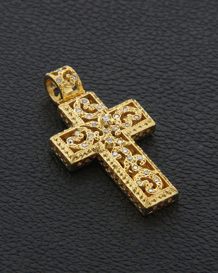 Χειροποίητος Σταυρός Κ18 με Διαμάντια