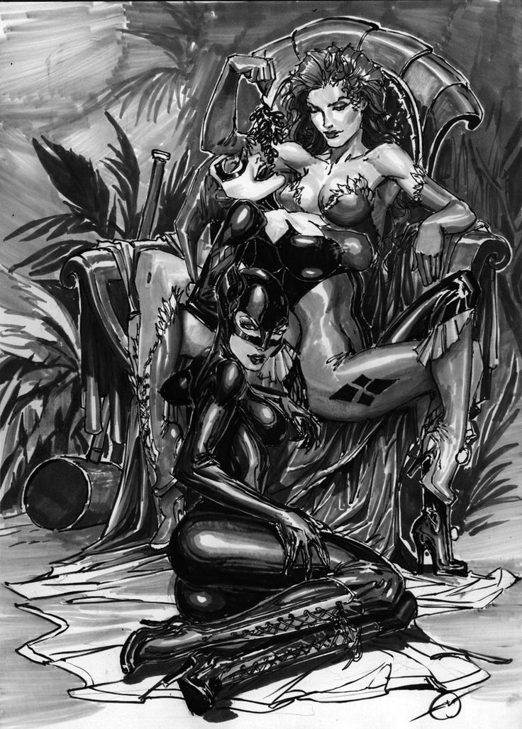 ivy harley and catwoman by nebezial.deviantart.com