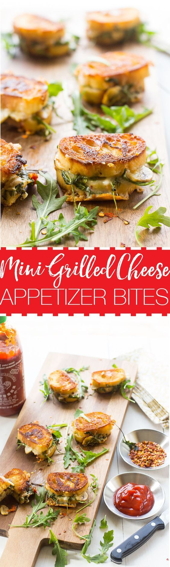 Mini Grilled Cheese Sandwich Appetizers made with aged cheddar, sundried tomatoes, mushrooms and arugula