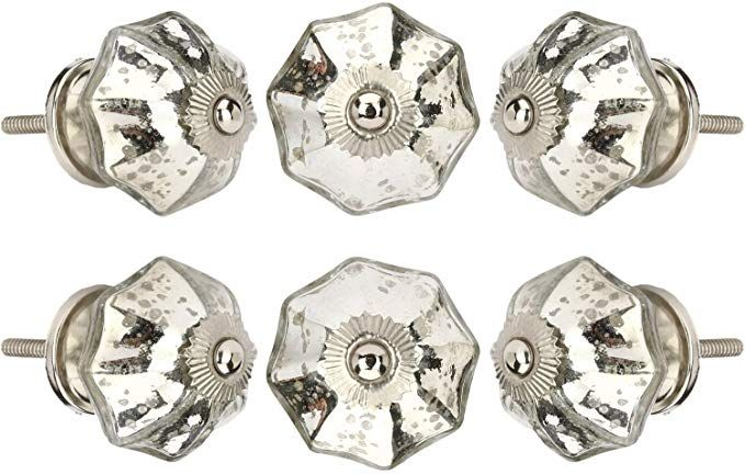 Perilla Home Set of 6 Crystal Glass Knobs Kitchen Cabinet Cupboard Glass Door Knobs Dresser Wardrobe and Drawer Pull Navy Blue