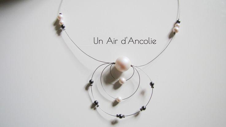 Collier Mariage et cérémonies - Perles Nacrées en Cristal Swarovski - Blanc et Gris : Collier par ancolie