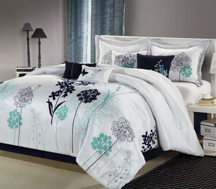 This Madison Park Kira seven-piece comforter set is the perfect way to brighten up your existing bedroom decor. Made from 100-percent polyester for comfort and durability, this blue comforter set has